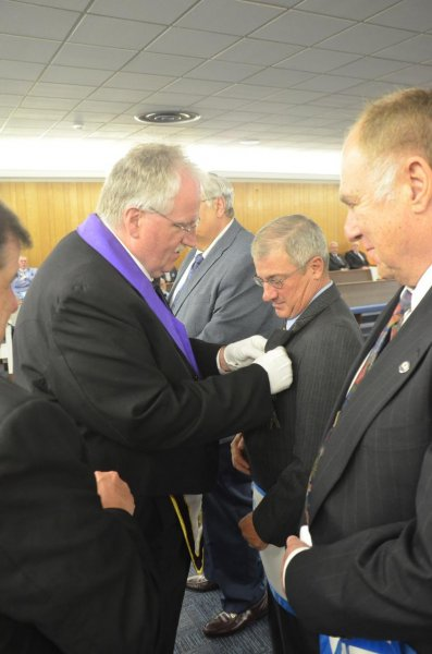 oct mtg 2 - Presentation of 25-year Service Award to Bro. Keith Murray, PM. by DDGM John D. Cook, along with Bro.William McVitty and Bro.Tom Planavsky.